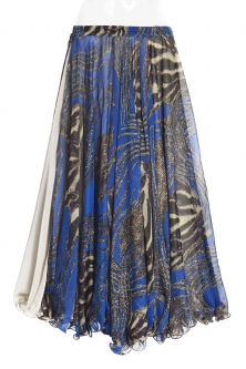 Belly dance printed skirt - royal blue tiger