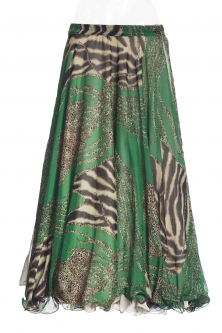 Belly dance printed skirt - emerald tiger