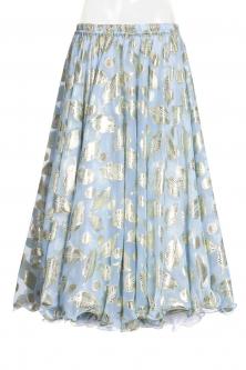 Belly dance printed skirt - blue gold leaf