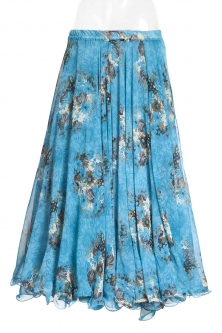 Belly dance printed skirt - turquoise bouquet