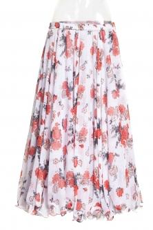 Belly dance printed skirt - red posies