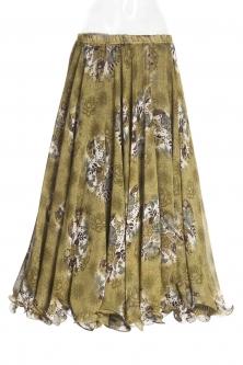Belly dance printed skirt - green bouquet
