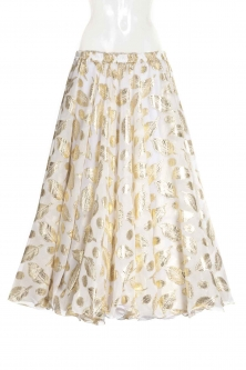 Belly dance printed skirt - white gold leaf