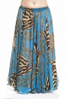Belly dance printed skirt - turquoise tiger