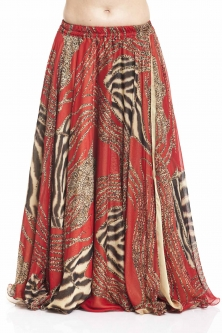 Belly dance printed skirt - scarlet tiger