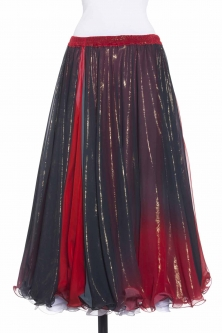 Belly dance printed skirt - two tone red/black shimmer