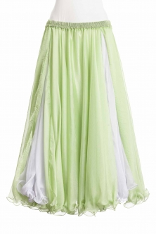 Belly dance printed skirt - sparkly lime green chiffon