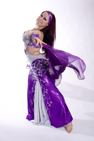 Belly dance ribbon edge chiffon veil in purple