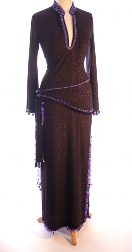 Belly dance sa'idi dress/galabia - Purple Shimmer Sweetheart