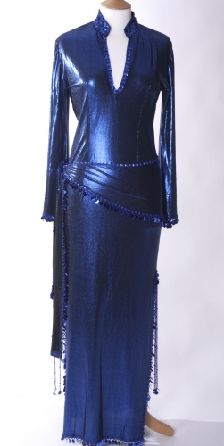 Belly dance sa'idi dress/galabia - Brilliant Blue