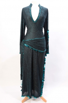 Belly dance sa'idi dress/galabia Turquoise night