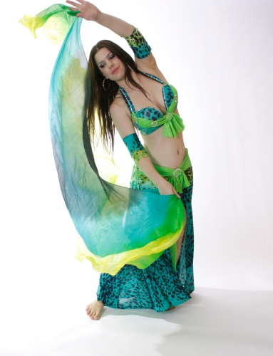 Belly dance silk veil in blue, green and yellow