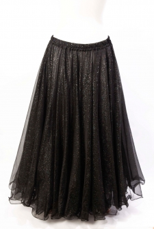 Belly dance skirt - black chiffon with iridescent glitter