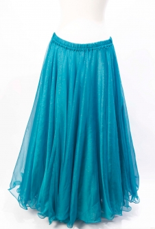 Belly dance skirt - turquoise chiffon with iridescent glitter
