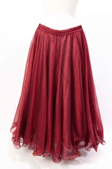 Belly dance skirt - deep red chiffon with iridescent glitter