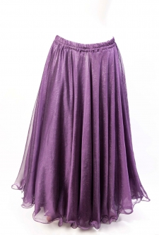 Belly dance skirt - purple chiffon with iridescent glitter