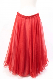Belly dance skirt - red chiffon with iridescent glitter