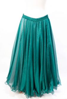 Belly dance skirt - teal chiffon with iridescent glitter