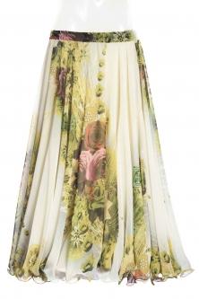 Belly dance superior printed skirt - light romance