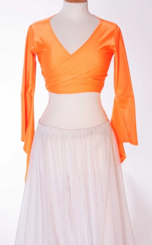Belly dance lycra tie top - orange
