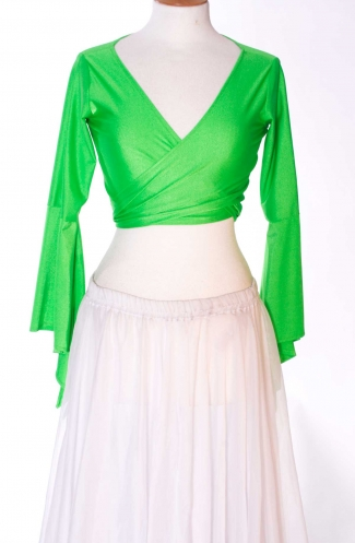 Belly dance lycra tie top - bright green