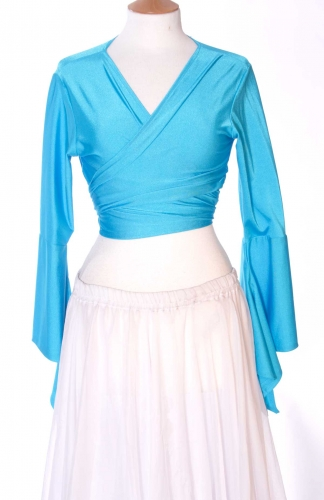 Belly dance lycra tie top - turquoise