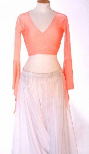 Belly dance lycra tie top - coral