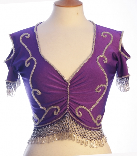 Belly dance lycra top - dark purple and silver