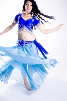 Belly dance lycra top - royal blue and silver