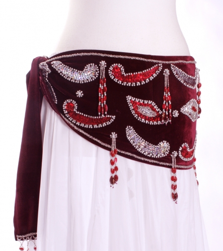 Velvet paisley belly dance belt - Maroon with silver