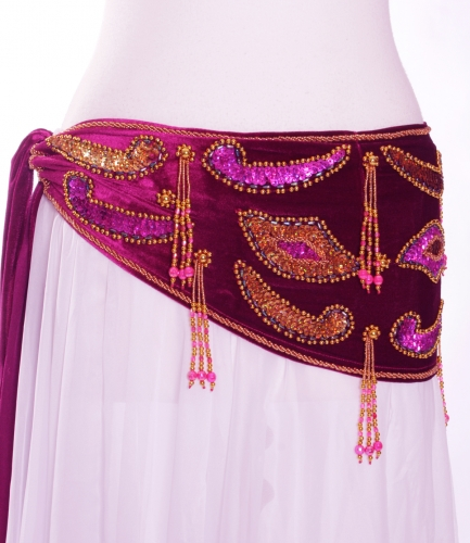 Velvet paisley belly dance belt - fuchsia/dark pink with gold