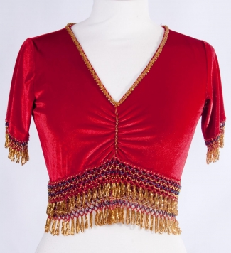 Belly dance velvet top in red and gold - size S-M