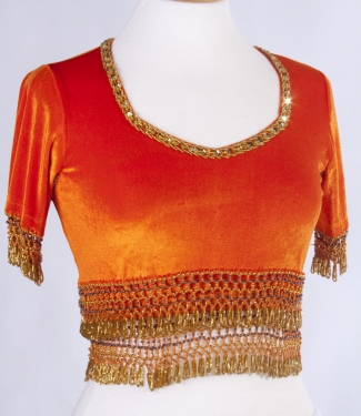 Belly dance velvet top in orange and gold - size S-M-L