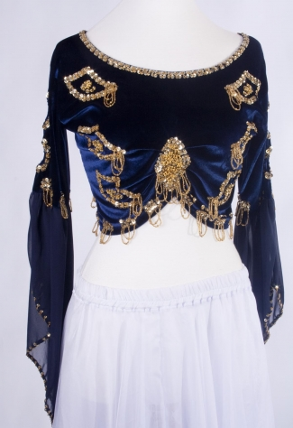 Belly dance velvet top in navy and gold - size M-L