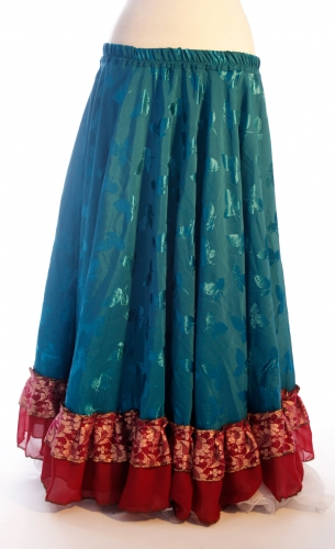 Belly dance gypsy tribal skirt - deep turquoise with red ruffles