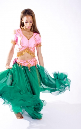 Belly dance belts for tops - Pink (medium) and gold