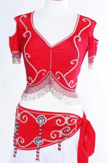 Belly dance belts for tops - Red and silver