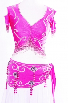 Belly dance belts for tops - Hot pink and silver