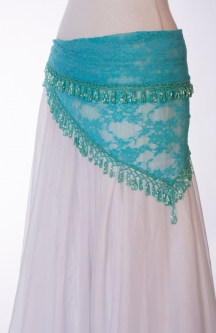 Small blue lace crocheted edge belly dance belt