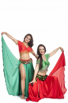 Cherry red silk belly dance skirt