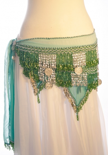 Chiffon rectangle belly dance belt - Chiffon Diamond