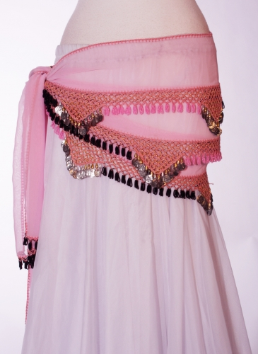 Chiffon rectangle belly dance belt - Pink Blush