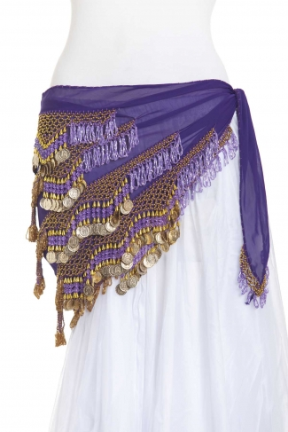 Rich large chiffon triangles belly dance belt - Purple Passion