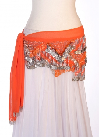 Chiffon rectangle belly dance belt - Orange Flavour!