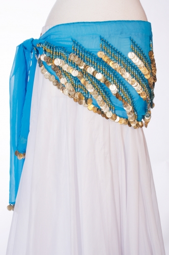 Chiffon rectangle belly dance belt - Sky Blue