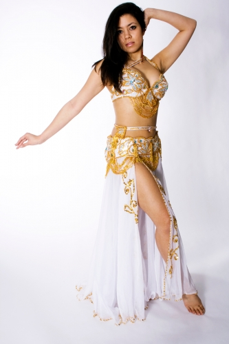 Couture belly dance costume - White Magic