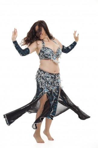 Couture belly dance costume - Electric Blue Beauty