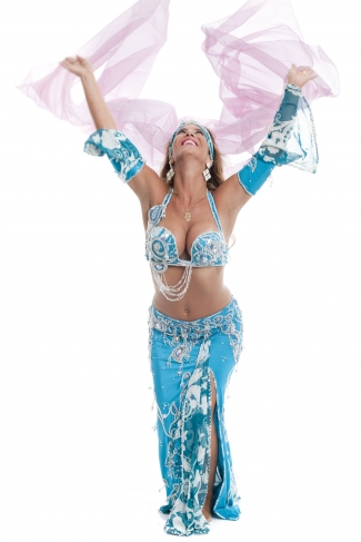 Couture belly dance costume - Sky Celebrity