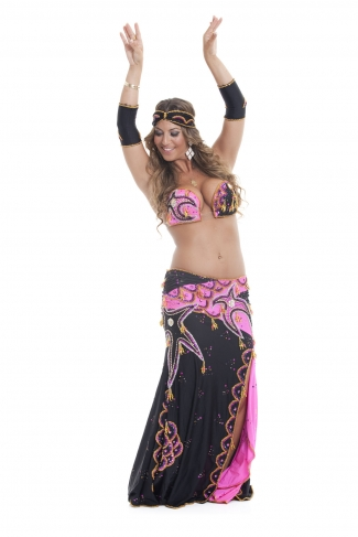Couture belly dance costume - Pink Champagne