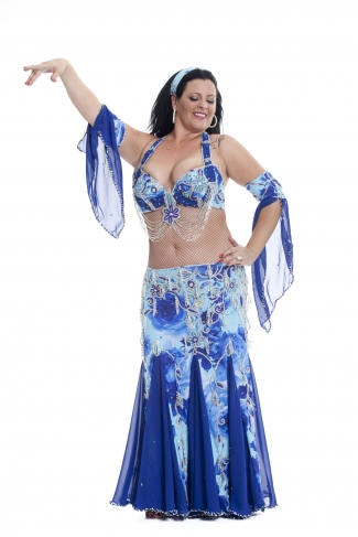 Couture belly dance costume - Blue Rose